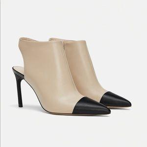 Zara high heeled slingback leather boots